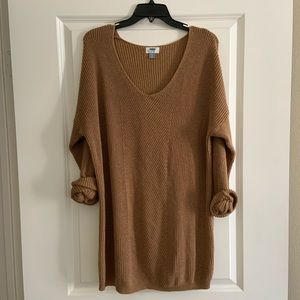 Old Navy Brown Vneck Knit Sweater Dress XL